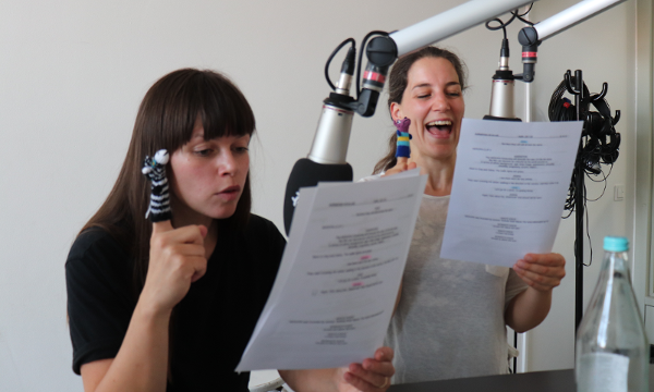 Lore Richter and Simona Theoharova recording voice-overs