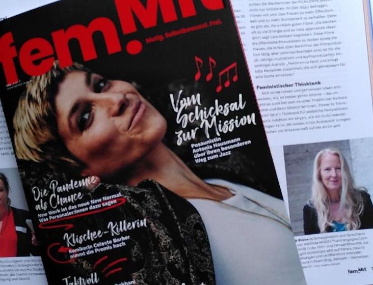 Titelseite femmit und Ausschsnitt Artikel mit Interview BRS